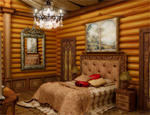 Деревянный интерьер спальни